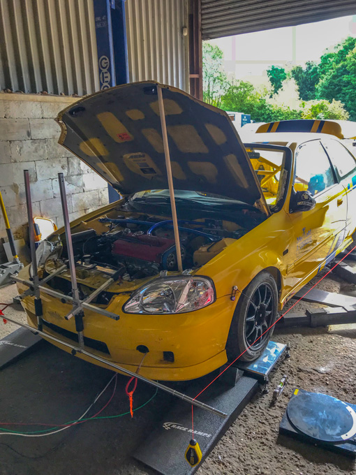 Honda Civic race car suspension setup