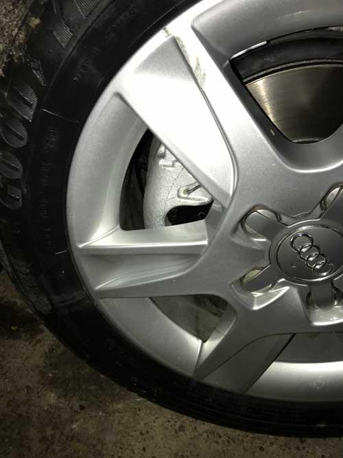 Audi A3 refurbished wheel and new brake calliper and dic